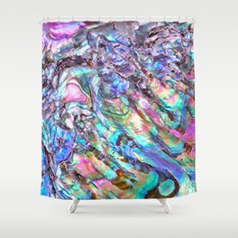 Shimmery Rainbow Abalone Mother of Pearl Shower Curtain