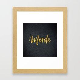 Merde gold foil text Framed Art Print