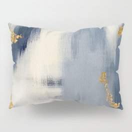 Blue and Gold Ikat Abstract Pattern #2 Pillow Sham