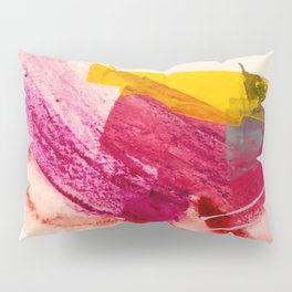 Pink Lemonade: a minimal, colorful abstract mixed media with bold strokes of pinks, and yellow Pillow Sham