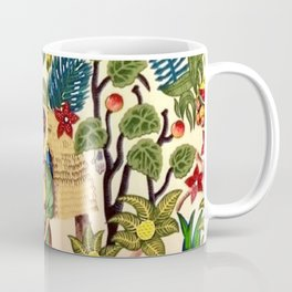 Coyoacán Mexican Garden of Casa Azul Lush Tropical Greenery Floral Landscape Painting Coffee Mug