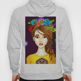 Mystical Flower Crown Girl Hoody