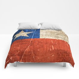 Vintage Aged and Scratched Chilean Flag Comforters
