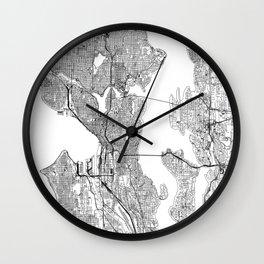 Seattle White Map Wall Clock