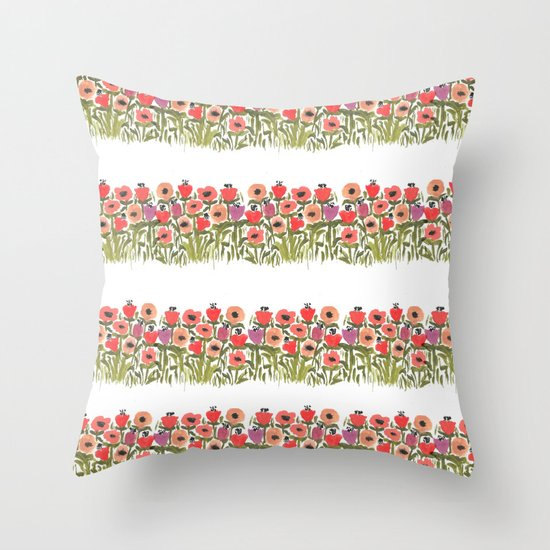 Flower stripe garden Throw Pillow