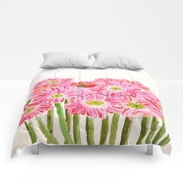 Pink Gerbera Daisy watercolor Comforters