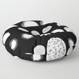Linocut black and white minimal shapes half moons mounds abstract Floor Pillow