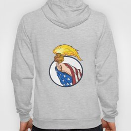 Hand Holding Liberty Torch Drawing Color Hoody
