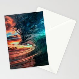 Cool Blue Ocean Waves Splashing By The Sunset Stationery Cards