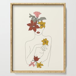 Colorful Thoughts Minimal Line Art Woman with Flowers IV  Serving Tray
