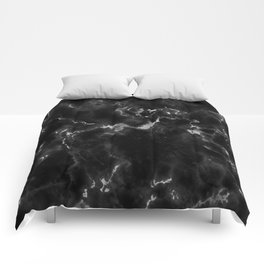 Elegant black silver stylish abstract marble Comforters