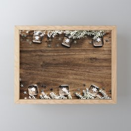 Christmas Winter Snowflakes Rustic Wooden Plank Framed Mini Art Print