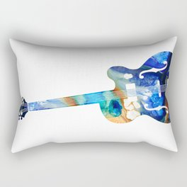 Vintage Guitar - Colorful Abstract Musical Instrument Rectangular Pillow