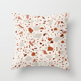 Abstract Brown Terrazzo Throw Pillow