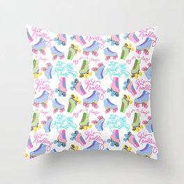 Roller Skates Pattern (White Background) Throw Pillow