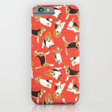 beagle scatter coral red Slim Case iPhone 6s