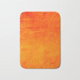 Orange Sunset Textured Acrylic Painting Badematte