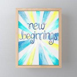 New Beginnings - Blue Watercolor Framed Mini Art Print