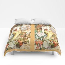 """Alphonse Mucha """"Cognac Bisquit"""" Comforters"""