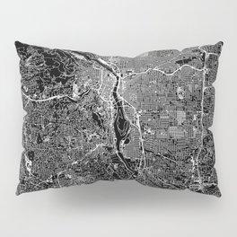 Portland Black Map Pillow Sham