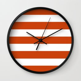 Sinopia - solid color - white stripes pattern Wall Clock