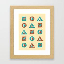 Geo Cats Framed Art Print
