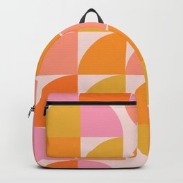 Mid Century Mod Geometry in Pink and Orange Backpack