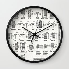 COCKTAIL poster, cocktail chart print Wall Clock