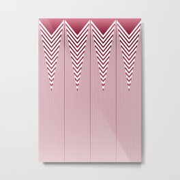 Art Deco Pink Arrowhead Pattern Metal Print