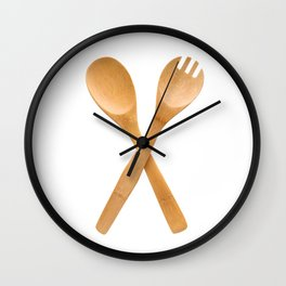 Crossed fork and spoon sign Wall Clock