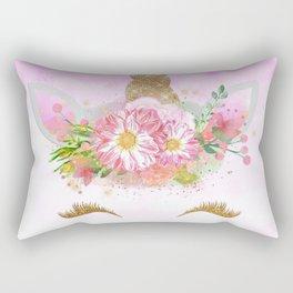 Pink Unicorn and Gold Stars Rectangular Pillow