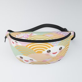 seamless pattern Kawaii with pink cheeks and winking eyes with japanese sakura flower Fanny Pack