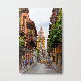 Cartagena Streets Metal Print