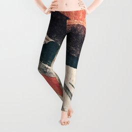 Thunder&Lightning {3}: Minimal watercolor abstract in pinks, blues, and greens Leggings