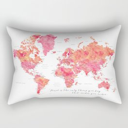 "Travel is the only thing you buy that makes you richer world map, ""Tatiana"" Rectangular Pillow"