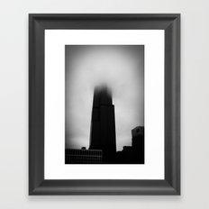 Sears Tower in Fog Chicago Black and White Photo Framed Art Print