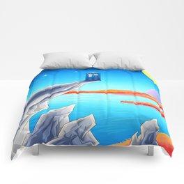 tardis space at starry night Comforters