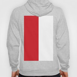 White and Fire Engine Red Vertical Halves Hoody