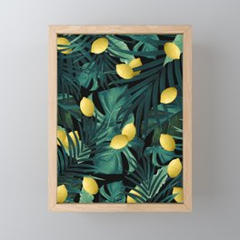 Tropical Lemon Twist Jungle Night #1 #tropical #decor #art #society6 Framed Mini Art Print