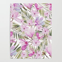 Tropical hand painted green magenta watercolor floral Poster
