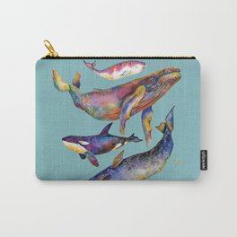 Whales Blues - Watercolor Whales - Pyramid #1 Carry-All Pouch