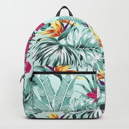 Bird of Paradise Greenery Aloha Hawaiian Prints Tropical Leaves Floral Pattern Backpack