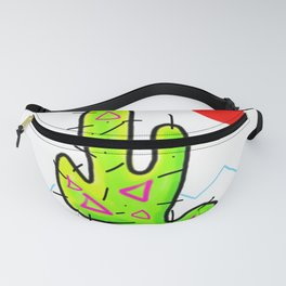 Funky Neon Cactus, Red Sun, 80s 90s style Fanny Pack