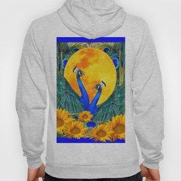 BLUE PEACOCKS MOON & FLOWERS FANTASY ART Hoody