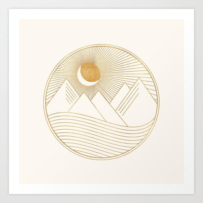 Golden Sunset Landscape with Mountains Art Print