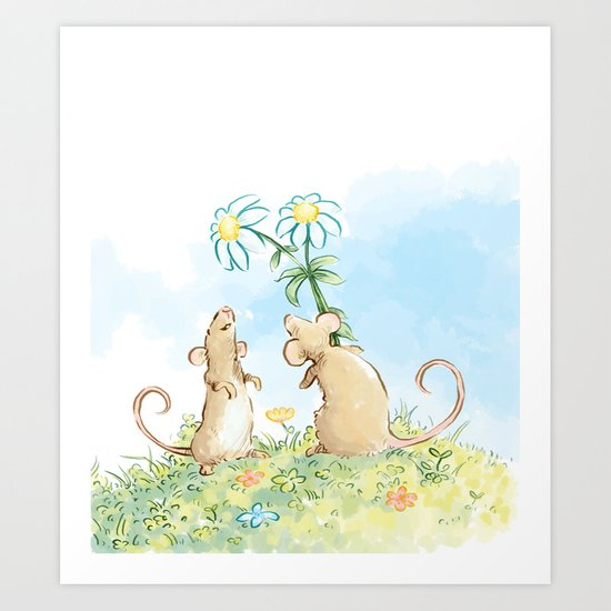 Mouse Giving Flowers Art Print