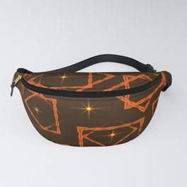 Orange rhombuses and squares in intersection with yellow stars on a brown background. Fanny Pack