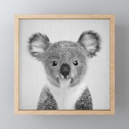 Baby Koala - Black & White Framed Mini Art Print