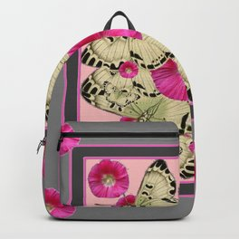 GREY & PINK HOLLYHOCK FLORAL BUTTERFLY PATTERN Backpack