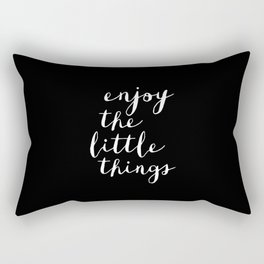 Enjoy the Little Things black and white typography poster black-white design wall art home decor Rectangular Pillow